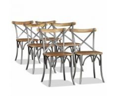 vidaXL bois de manguier massif et chaises de salle à manger en acier Dos croisé de cuisine Assise 6x - Chaise