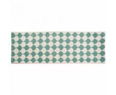 Myfaktory - Long tapis de design style vintage ivoire / vert - Tapis et paillasson