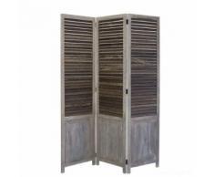 Paravent 3 panneaux gris en bois 120x170cm PAR06028 - Objet à poser