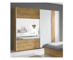Armoire, garde robe WOOD deux portes coulissantes 250 cm. Coloris chêne et blanc brillant. Meuble pour chambre à coucher - Armoire