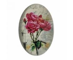 Presse Papier Sulfure Ovale Bombé Motif Rose en Verre 9 cm - Objet à poser