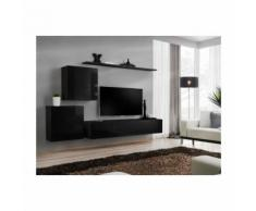 Meuble TV mural SWITCH V design, coloris noir brillant. - Meubles TV
