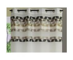 Rideau tamisant à oeillets polyester parement triangle 140x240cm SKANDIC - Gris - Rideaux et stores