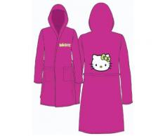 PEIGNOIR DE BAIN ENFANT HELLO KITTY FUSCHIA T2 VELOURS 100% Coton - Linge de bain