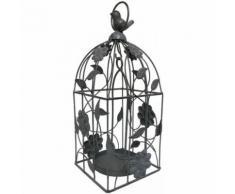Cage à Oiseau Oiseaux à Bougie Bougeoir Porte Plante à Suspendre Fer 34x13x13 cm - Bougeoir, bougie et senteur
