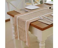 Chemin de table de style campagnard en polyester et coton marron - linge de table et décoration