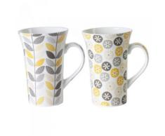 Table Passion - Coffret 2 Mugs 55Cl Jaipur Jaune/Gris Assortis - vaisselle