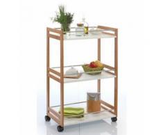 Desserte de cuisine bambou à roulettes - 3 étagères blanches - Meuble de cuisine roulant - Objet à poser