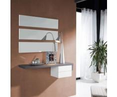 Meuble d'entrée Cendre + miroir - POSTI - Commodes