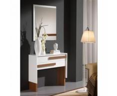 Meuble d'entrée Blanc/Noyer + miroir - IZMERE - Commodes