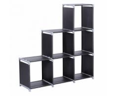 Etagère de 6 Casiers Bibliothèque Escalier tissu non-tissé 106 x 32 x 110 cm Noir - Étagère