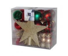 Kit de 44 décorations pour sapin - Rouge or et vert - Guirlandes, boules et cimier - Objet à poser