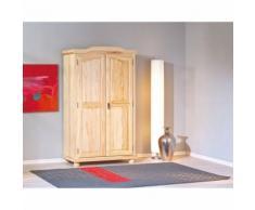 Armoire penderie dressing rangement chambre vintage 2 portes pin massif NATUREL - Armoire