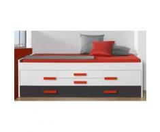 Lit ELISE avec 2 portes et 2 tiroirs, coloris blanc / noir, 65 x 201 x 99 cm -PEGANE- - Cadre de lit