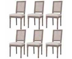 Meelady- Chaise de salle à manger housse de chaise Lin Rotin 47x58x98cm Blanc crème - Chaise