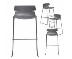 Chaise haute grise design FAITH 2, lot de 4 - Tabourets