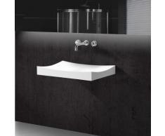 Lavabo Suspendu Rectangulaire Blanc Mat, 68x45 cm, Composite, Unic - Installations salles de bain