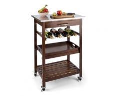 Klarstein Vermont - Desserte de cuisine sur roulettes chariot de service en bois véritable avec plan de travail en acier inox (tiroir, support pour bouteilles, plateau de service amovible) - Ustensiles