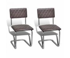 vidaXL 2 pcs Chaise de salle à manger en similicuir Brun Chaise de cuisine Chaises - Chaise