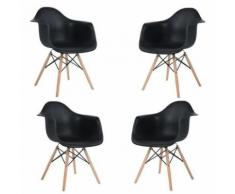Lot de 4 Chaises Scandinaves Chaises Design Chaises de Salle à Manger Chaises de Cuisine en Plastique Noir - Chaise