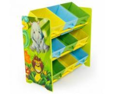 Meuble de rangement étagère jouet panier chambre enfant motif jungle APE06042 - Objet à poser