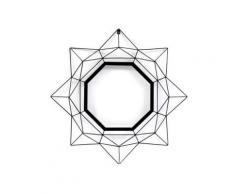 Miroir en métal noir 81x81cm forme octogonale PRISMA - Miroir
