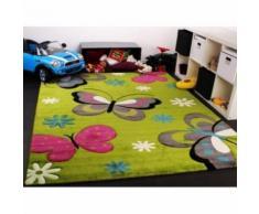 BUTTERFLY Tapis pour enfant 120x170 cm vert, gris et rose - Tapis et paillasson