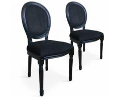 Lot de 2 chaises médaillon Louis XVI Black Velours Noir - Chaise