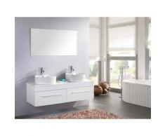 MEUBLE SALLE DE BAIN BLANC VASQUE LUXE, LAVABO Modèle White Cardellino 150 cm - Installations salles de bain