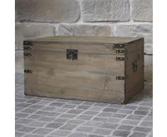 Malle de Style ancien Coffre de Rangement Bois 62 cm - Coffres