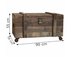 Grand Coffre à Roulettes Malle Style Brocante Campagne de Rangement 90 cm x 56 cm x 55 cm - Coffres