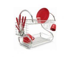 Égouttoir vaisselle chrome inox double niveau couverts assiettes - Accessoires Lave-vaisselle