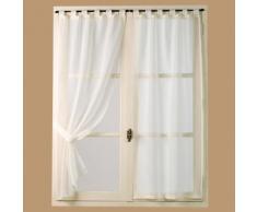 Voilage vitrage à pattes étamine uni + embrasses ivoire - lot de 2 PETUNIA - 90x130cm - Rideaux et stores