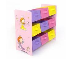 Meuble de rangement étagère jouet panier chambre enfant motif princesse APE06005 - Objet à poser
