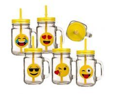 Une tasse vintage emoji mug verre motif émoticône couvercle et paill rire  aux larmes - vaisselle babd15c23cbc