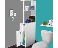 Meuble WC étagère bois gain de place pour toilette 2 portes blanches - Accessoires salles de bain et WC