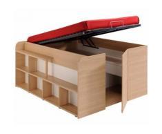 Lit relevable avec rangements intégrés, 140x200 cm -PEGANE- - Cadre de lit