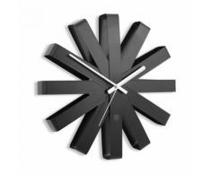 Horloge murale en métal forme flocon D.30.5cm RIBBON Noir - Décoration murale