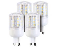 Lot de 4 ampoules compactes LED 3 W avec éclairage 360° - GU9 - Blanc chaud - Ampoules à LEDs