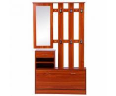 Ensemble de meubles d'entrée design contemporain : meuble chaussures, miroir et panneau porte-manteau panneaux de particules orangé imitation bois - Commodes