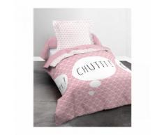 Parure de lit enfant rose chut 140x200 - Linge de lit