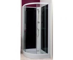 Aqua+ - cabine de douche 1/4 de cercle accès d'angle transparent portes coulissantes 80x80cm non-hydro sans silicone - gena - Installations salles de bain