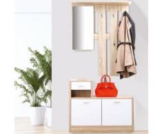 Meuble vestiaire d'entrée décor hêtre portes blanches avec miroir - Accessoires salles de bain et WC