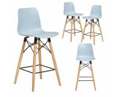 Chaise haute scandinave bleue TEKILA, lot de 4 - Tabourets