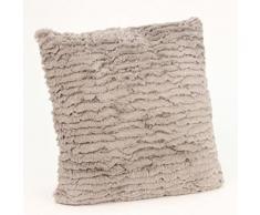 Coussin fourrure Rayée Taupe, 40 x 40 cm -PEGANE- - Textile séjour