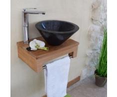 Meuble sous-vasque suspendu en teck pour lave-mains, Lazzia - Installations salles de bain
