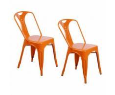 Zons Lot De 2 Chaises Industrielles Retro Empilable Orange 42X47Xh78Cm - Chaise