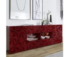 Enfilade design rouge laqué 2 portes 4 tiroirs NINO 3 - Buffets