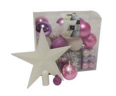 Kit de 44 décorations pour sapin - Rose et argent - Guirlandes, boules et cimier - Objet à poser