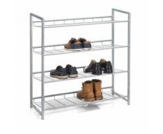 Etagère à chaussures SYSTEM 4 tablettes rangement pour 16 paires en métal laqué argenté - Meubles à chaussures